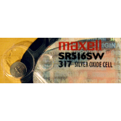 317 Maxell 1.55 volt Silver Oxide Watch Battery SR516SW, 317