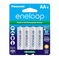 Panasonic Eneloop AA Nimh Batteries 4/pack, BK-3MCCA4BA