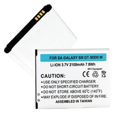 SAMSUNG GALAXY S III GT-I9300 3.7V 2.1Ah LI-ION NFC Cell Phone Battery, BLI-1258-201