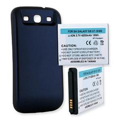 SAMSUNG GALAXY S III 4200mAh Extended Life Battery NFC Blue Cover, BLI-1258-402B