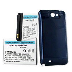 Samsung Galaxy Note II 3.7V 6200mAh Li-Ion Long Life NFC Battery with cover, BLI-1305-602