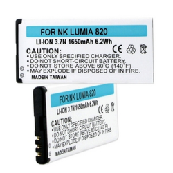 Nokia Lumia 820 3.7V 1650mAh Li-Ion Cell Phone Battery, BLI-1323-106