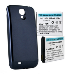SAMSUNG GALAXY S 4 GT-I9500 3.8V 5200mAh LI-ION NFC Cell Phone Battery, Blue Cover, BLI-1341-502BU