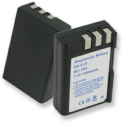 Nikon EN-EL9, D40, D60 7.4V 1000mAh Digital Camera Battery, BLI-304