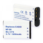 Casio NP-90 3.7V 1850mAh Digital Camera Battery, BLI-374