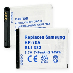 Samsung BP-70A 3.7V 740mAh Digital Camera Battery, BLI-382
