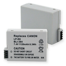 Canon EOS LP-E8 7.4v 1120mAh Replacement Camera Battery, BLI-384