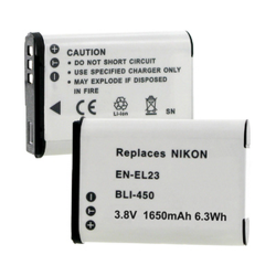 Nikon CoolPix P600 EN-EL23 3.8V 1650mAh Li-Ion Battery, BLI-450