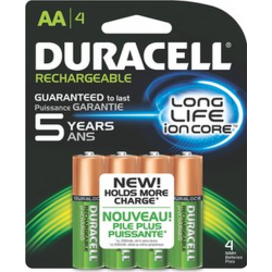 Duracell 2400mAh Pre-Charged AA NiMH Batteries, DX1500R4