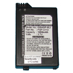 Playstation PSP-S110 3.7v 1200mah Li-Ion Battery, GBASP-8LI