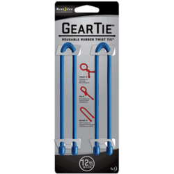 Nite Ize Gear Ties, 12 inch Blue Rubber Twist Tie, GT12-2PK-03