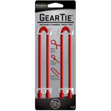 Nite Ize Gear Ties, 12 inch Red Rubber Twist Tie, GT12-2PK-10