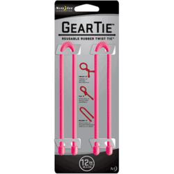 Nite Ize Gear Ties, 12 inch Pink Rubber Twist Tie, GT12-2PK-12