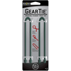 Nite Ize Gear Ties, 12 inch Forest Green Rubber Twist Tie, GT12-2PK-28