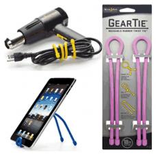 Nite Ize Gear Ties, 18 inch Pink Rubber Twist Tie, GT18-2PK-12
