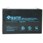 BB Battery, HR9-6T2, 6V 9Ah High Rate Sealed Lead Acid Battery