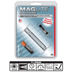 Maglite Incandescent Solitaire Flashlight, K3A096, Gray