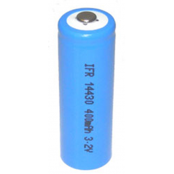 LiFePO4 3.2V 400 mah 4/5 AA Rechargeable 14430 Battery, LFP-14430-400A