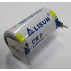 3V lithium CR2 with PCB pins (3 pin - 1 neg, 2 pos 10mm), LITH-22-2P-1N-STOP-PINS