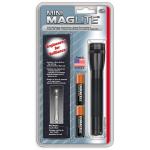 Maglite 2AA MiniMag Flashlight w/Holster, M2A01H, Black