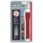 Maglite MiniMag 2 Cell AA Flashlight w/Holster M2A03H. 106-305, RED