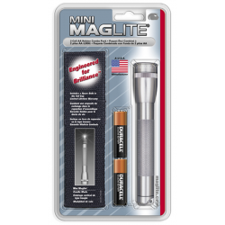 Maglite 2AA MiniMag Flashlight w/Holster, M2A09H, Gray