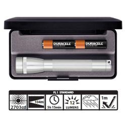 Maglite 2AA MiniMag Gift Box, M2A10L, Silver