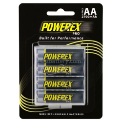 Maha Powerex PRO AA NiMH 2700mAh Rechargeable Batteries w/Holder 4-pack, MHRAA4PRO