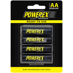 MAHA PowerEx Precharged AA 1.2V 2600mAh NiMH Rechargeable Batteries, 4/pack, MHRAAP4