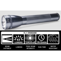 Maglite ML25IT Xenon 3C Cell Maglite Flashlight, ML25IT-3096, 186-078, Gray