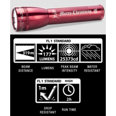Maglite ML25LT 2C Cell LED Flashlight, ML25LT-S2TB5, Collectible Merry Christmas, Red