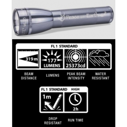 Maglite ML25LT 2C LED Flashlight, ML25LT-S2TD5, Collectible Peace on Earth, Gray