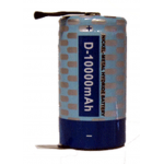 Powerizer NiMH D Cell 10000mAh 1.2V Rechargeable Battery, w/ Solder Tabs, NMH10000T