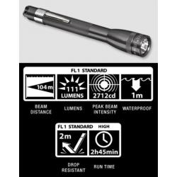 Maglite MiniMag 2 Cell AAA LED Flashlight P32092, 156-044, GRAY, Gift Box