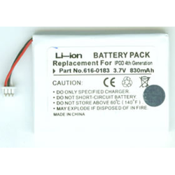 iPod 4th Gen 3.7V 830mAh Li-Ion PDA/MP3 Battery, PDA-94LI