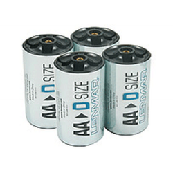 Lenmar D Cell Adapter for AA Batteries, 4/Pack, PROAA2D