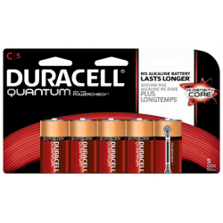 Duracell Quantum C Cell Alkaline Battery with Hi-Density Core and PowerCheck, 5 pack, QU1400B5Z