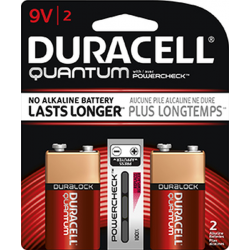Duracell Quantum 9 Volt Alkaline Battery with Hi-Density Core and PowerCheck, 2 pack, QU1604B2