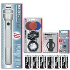 3 D Cell MagLite Gift Kit, Silver S3D106-KIT