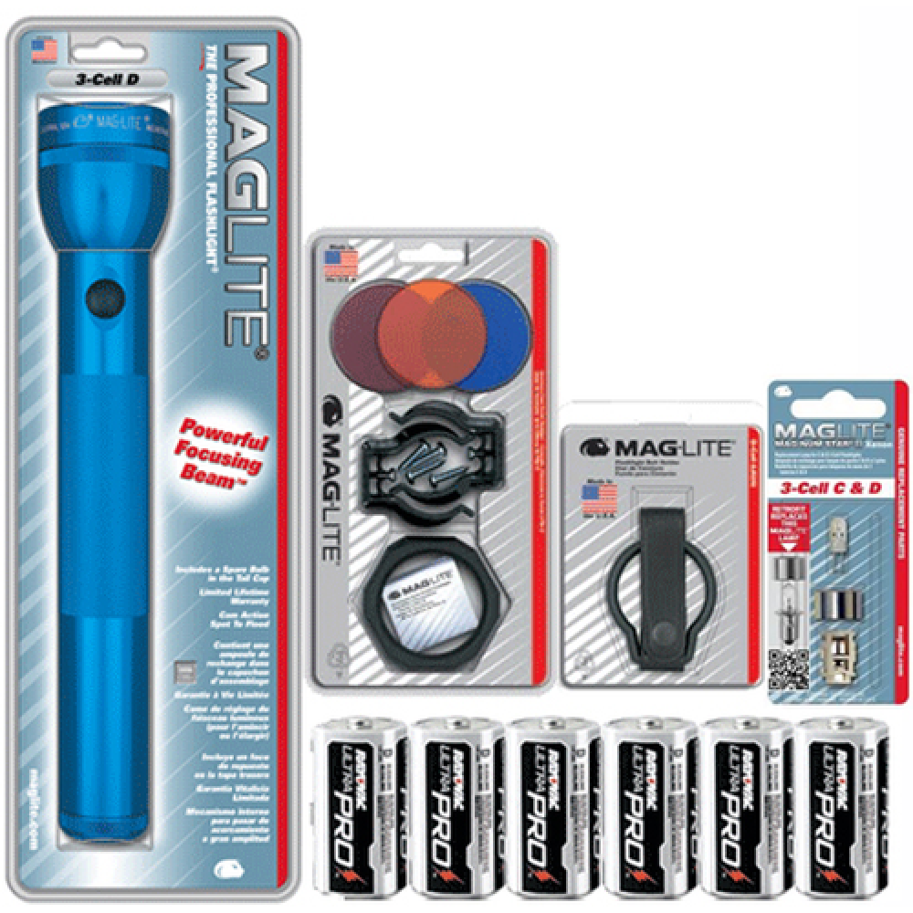 Maglite torch C or D cell blue lens