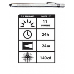 STYLUS3-SW Streamlight Stylus White LED Flashlight, Silver, 65012