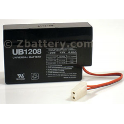 Universal Battery, UB1208, 12V 0.8Ah, Sealed Lead Acid Battery, 2 position plug