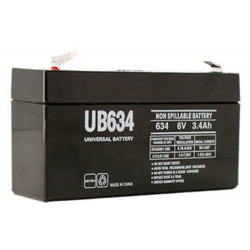 Universal Battery, UB634, 6V 3.4AH Sealed Lead Acid Battery, T1